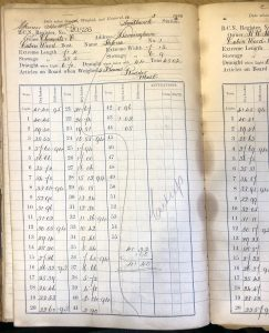 BCN gauge book page for boat 20526