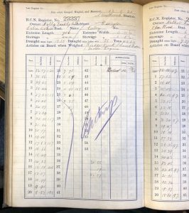 BCN gauge book page for boat 23337