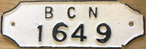 BCN gauge plate number 1649