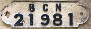 BCN gauge plate number 21981