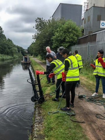 A stacker trolley, retrieved from the Titford Canal by a National Citizen Service/BCNS workgroup in July 2019