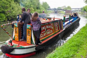 "Historic FMC narrowboat ""Clover"" at Bromford Junction during the 2015 BCNS Marathon Challenge"