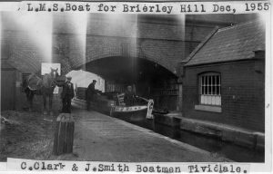 ©Will King Collection. LMS boat for Brierley Hill, Dec 1955. C Clark and J Smith boatmen, Tividale, with TW King gauging the railway boat at the Netherton Tunnel toll office.