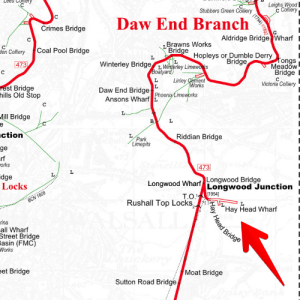 Historic map of the BCN, showing the Hay Head Arm, on the Wyrley & Essington Daw End Branch
