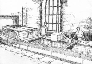 Loading 1-ton weights into a narrowboat at an indexing station. Drawing by Edward Paget-Tomlinson