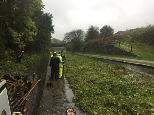 A wet October day at the toll island on the New Main Line beneath the Engine Arm aqueduct near Smethwick