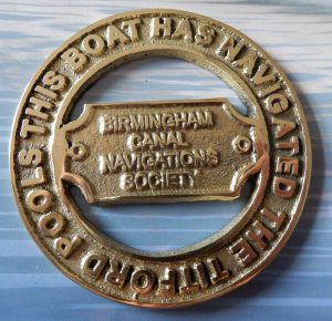 Plaque rewarded for cruising the BCN's Titford Pools