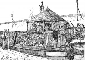 Gauging FMC narrowboat Quail, drawing by Edward Paget-Tomlinson