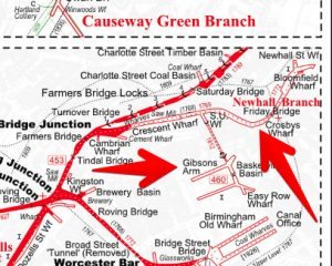 BCN Newhall Branch and Gibsons Arm, from the Historical Map of the Birmingham Canals