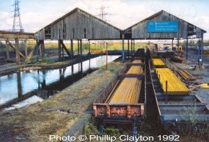 Railway wagons, carrying steel, at Chillington Basin