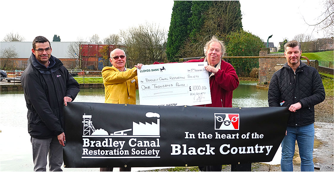 A cheque over £1000 from the BCN Society for the Bradley Canal Restoration Society