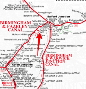 "Carter's Arm, Titford Canal, from the Richard Dean ""Historical Map of the Birmingham Canals"""